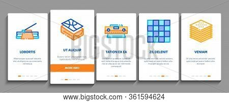 Tiler Work Equipment Onboarding Mobile App Page Screen Vector. Tiler Rectangular Notched Trowel And