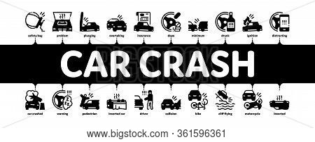 Car Crash Accident Minimal Infographic Web Banner Vector. Car Crash And Burning, Airbag Deployed And