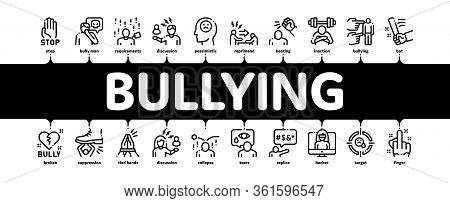 Bullying Aggression Minimal Infographic Web Banner Vector. Internet Bullying And Name-calling, Beati