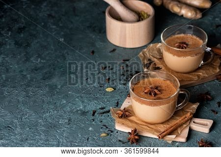 Glass Cups Of Traditional Indian Masala Chai