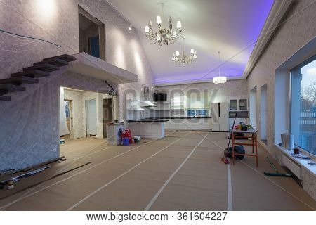 Unfinished Interior Of Upgrade Room With Furniture During On The Remodeling, Renovating, Extension,