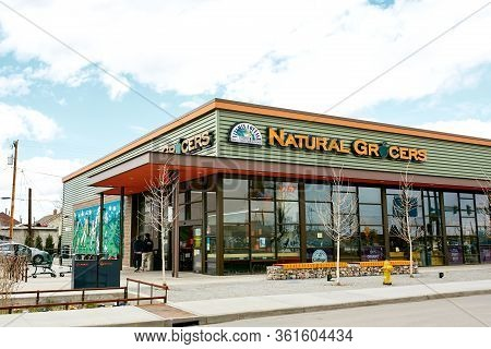 Denver, Colorado - April 15th, 2020:  Exterior Of Natural Grocers In The Rino District.  River North