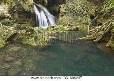 Beautiful Detail Of La Vaioaga Waterfall, Caransebes, Romania