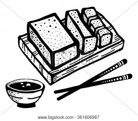 Tofu Soybean Curd Food With Chopsticks, Slice Of Tofu Vector Illustration Isolated On White Backgrou