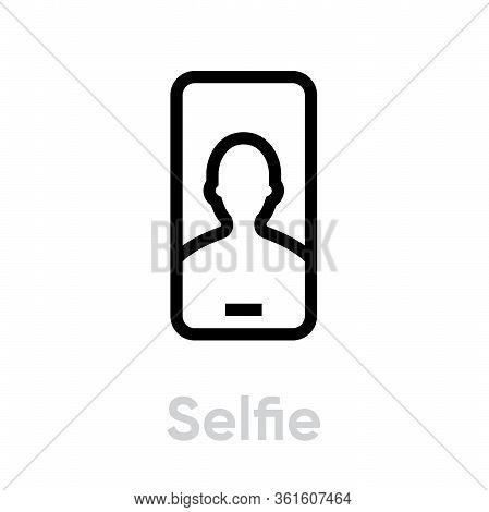 Selfie Phone Camera Icon. Editable Line Vector.