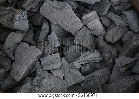 Many Pieces Of Black Charcoal. Natural Wood Charcoal, Traditional Charcoal Or Hard Wood Charcoal.