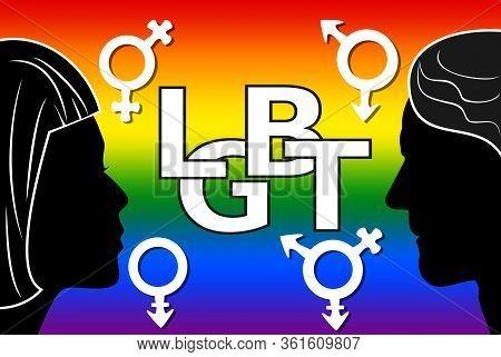 Lgbt Movement Banner, D, White Letters Lgbt Inside Heart. Lesbian, Gay, Bisexual, And Transgender Se