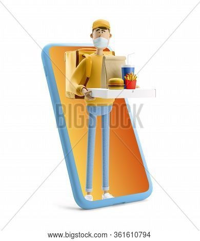 Delivery Guy In Medical Mask And Yellow Uniform Stands With Fastfood And Big Phone. 3d Illustration.