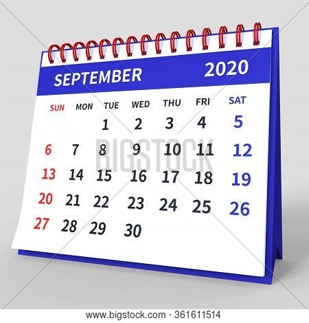 Standing Desk Calendar September 2020. Business Monthly Calendar With Red Spiral Bound, Week Starts