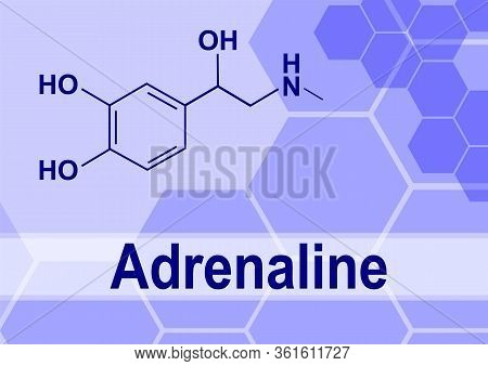 Adrenaline Or Epinephrine Hormone Chemical Structure. Epinephrine Is Normally Produced By Both The A