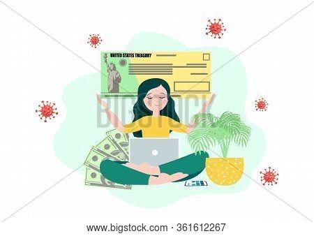 Young Woman Recieve A Stimulus Bill Check During Coronavirus Quarantine Period In Usa. Stimulus Reli