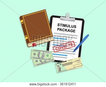 Individual Checks And Dollars. Financial Incentive Bill. Stimulus Package. Vector Illustration