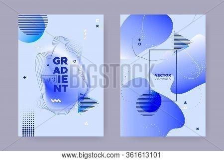 Pastel Abstract Memphis Brochure. Modern Flow Shapes. Liquid Pattern. Vibrant Geometric Template. Hi