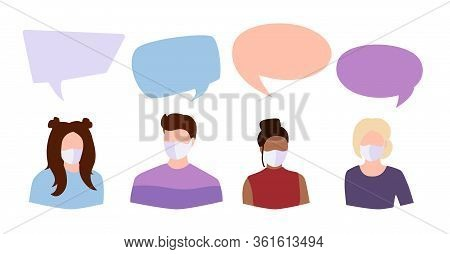 Coronavirus Covid 19, People Student In White Medical Face Mask Dispute. Speech Bubble Icon Dialogue