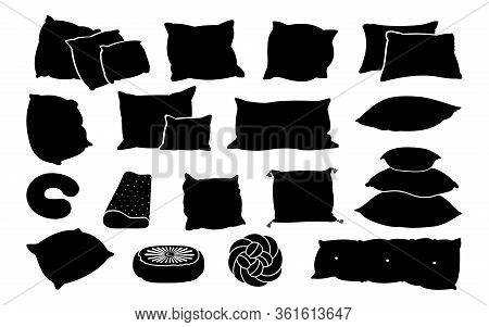 Black Glyph Pillow Flat Set. Monochrome Solid Cushion Shapes. Bed Sleep Pillows Contour. Feather Pad