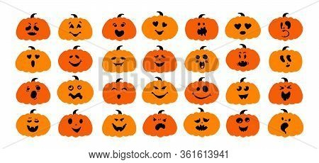 Funny Pumpkin With Face Flat Cartoon Set. Halloween Collection Cute And Ghostly Monsters, Scary Pump