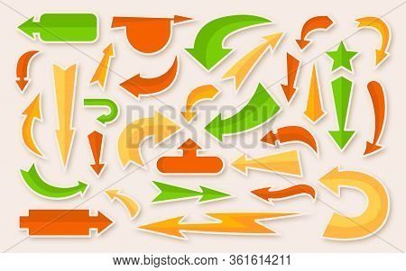 Arrow Vibrant Colored Sticker Set. Simple Infographic Collection. Multicolored Comic Cursor, Sign Bo