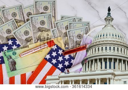 Washington Dc Capitol Dome With Global Pandemic Covid 19 Lockdown On American Flag Stimulus Financia