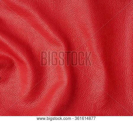 Natural Bright Red Cowhide Texture, Full Frame, Scarlet Color, Close Up