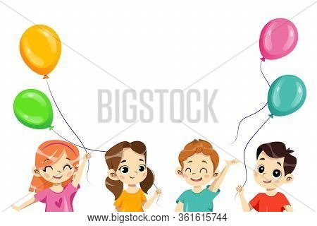 Kids Party Design Template. Happy Children Playing Together. Kids Play Balloons, Smiling And Have A