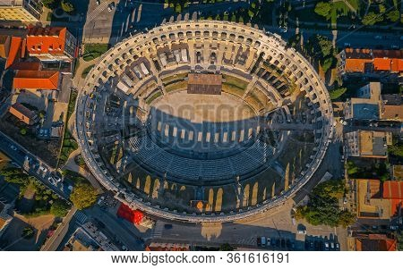Pula, Croatia - September 13, 2019: Aerial Shoot Of Arena An Ancient Roman Amphitheater - Old Town P