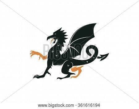 Dragon Passant. Vintage Black Design Of Heraldry Mythical Animal Vector Emblem. Dragon Logo Design F