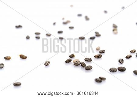 Seeds Row Organic Nutrition Background. Pile Healthy Chia Seeds Isolated On White. Antioxidant, Omeg