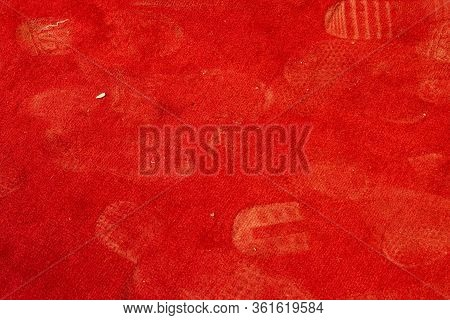 A Red Carpet Or A Red Carpet Stained With Dust Traces Of Shoes. Dirty Carpet