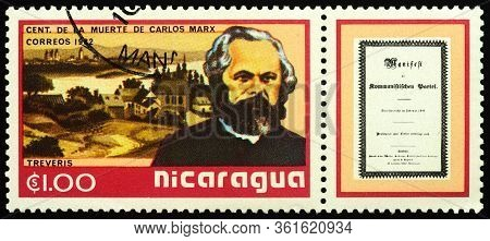 Moscow, Russia - April 14, 2020: Stamp Printed In Nicaragua, Shows Portrait Of German Philosopher, E