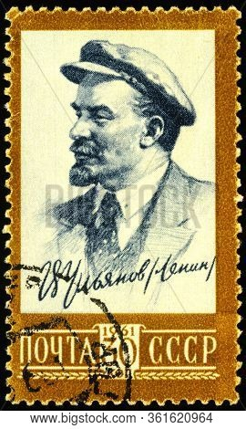 Moscow, Russia - April 16, 2020: Stamp Printed In Ussr (russia), Shows Portrait Of Vladimir Ilyich L