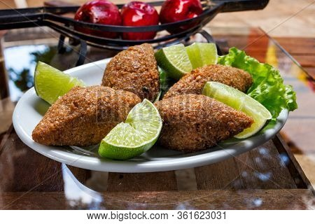 Fried kebab, traditional Arab cuisine, quibe