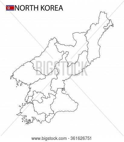 North Korea Map, Black And White Detailed Outline Regions Of The Country.