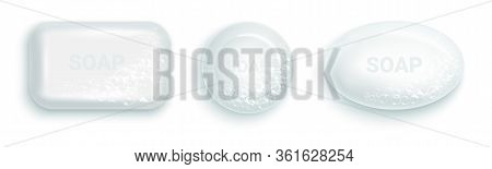 Soap Bar With Foam And Bubbles Isolated Vector Illustration On White Background. Soap Foam For Lathe