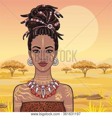 Animation Portrait Of The Young Beautiful African Woman  In A Dreadlocks. Savanna Princess, Amazon,