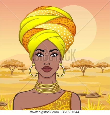 Portrait Of The Beautiful African Woman  In A Turban. Savanna Princess, Amazon, Nomad. Background -