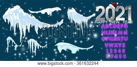 Snow Caps And Icicles. Snowball And Snowdrift Vector 2021 Winter Decorations Isolated. Frost Ice And
