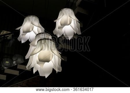 Modern Opaque White Abstract Floral Shaped Light Fixtures Hanging From The Ceiling With A Dark Backg