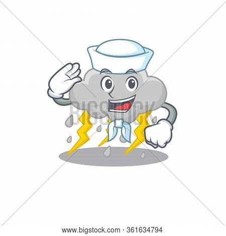 Sailor Cartoon Character Of Cloud Stormy With White Hat