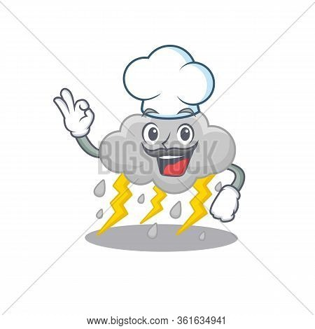 Cloud Stormy Chef Cartoon Design Style Wearing White Hat