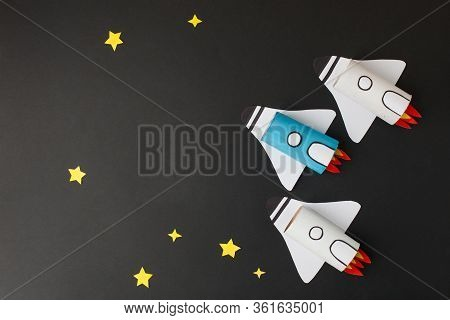 Set Of Spaceship, Shuttle, Rocket On Black Background With Copy Space For Text. Concept Of Business