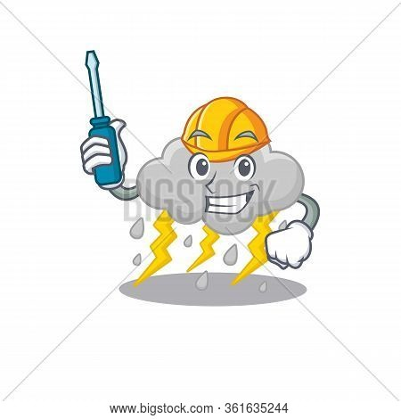 Cartoon Character Of Cloud Stormy Worked As An Automotive