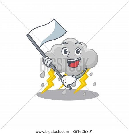 A Nationalistic Cloud Stormy Mascot Character Design With Flag