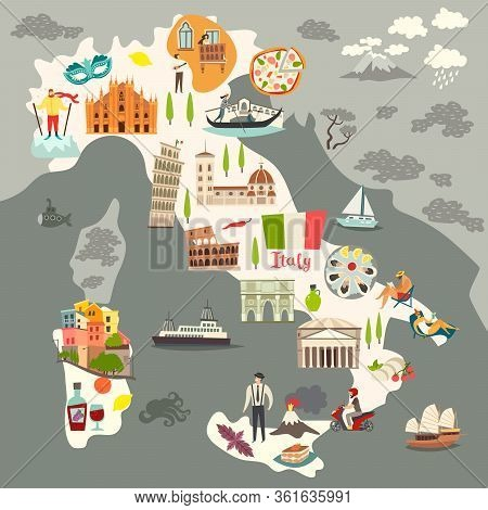 Italy Map Vector. Illustrated Colored Map Of Italy. Cartoon Abstract Atlas Of Italy With Landmark: C