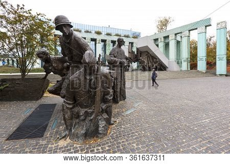 Warsaw, Poland -october 17, 2019 : Warsaw Uprising Monument In Front Of Supreme Court Of Poland, Kra
