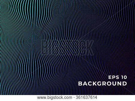 Black Background With Wavy Blue Purple Gradient Lines. Design For Banner, Wallpaper, Website And Oth