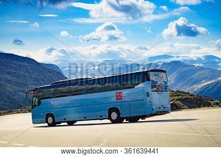 Dalsnibba, Norway - July 30, 2018: Dalsnibba Mountain With Vdl Futura Travel Bus, Toptravel European