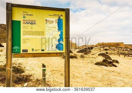Cabo De Gata Nijar, Spain - March 23, 2019: Information Board About La Molata Trail Above Beach El P