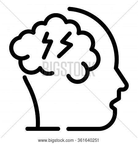 Migraine Icon. Outline Migraine Vector Icon For Web Design Isolated On White Background