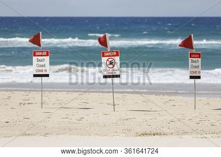 Beach Closed Coronavirus Sign, Beach Closed Or Shutdown Concept Amid Covid 19 Fears And Panic Over C