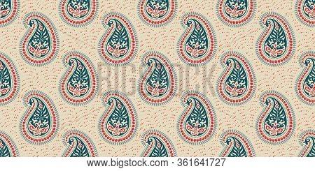 Seamless Pattern Based On Ornament Paisley Print. Boho Vintage Style Vector Background. Silk Neck Sc
